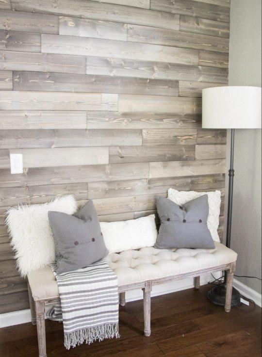DIY wood shiplap wall